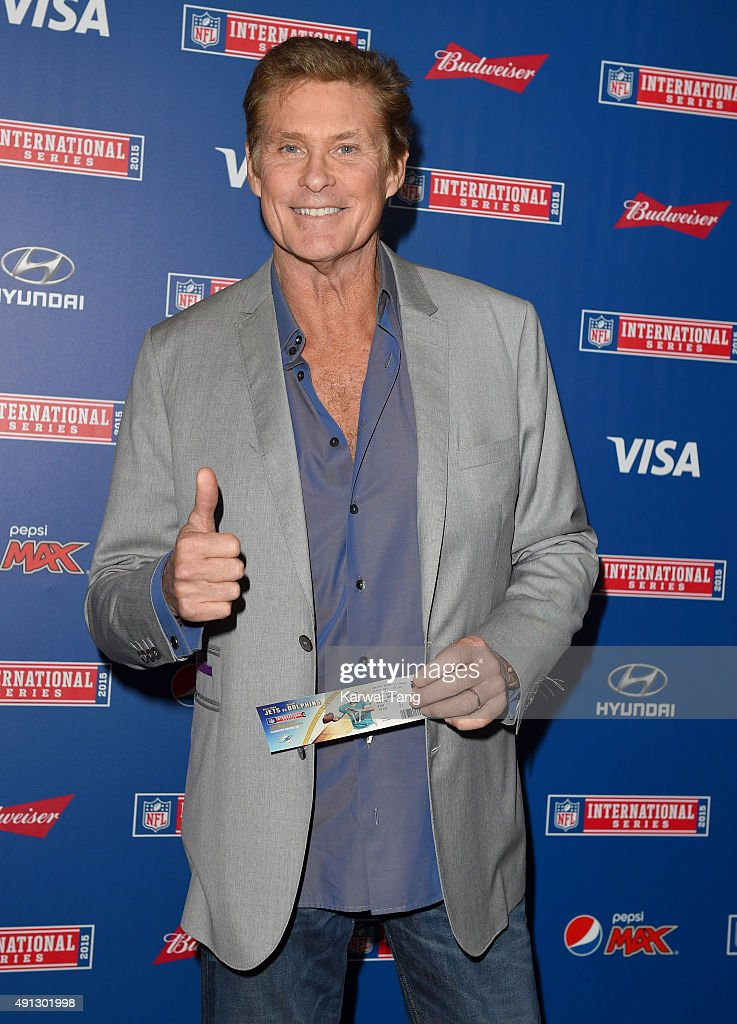 David Hasselhoff attends the NFL International fixture as the New York Jets compete against the Miami Dolphins at Wembley Stadium on October 4, 2015 in London, England.