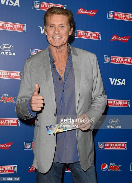 David Hasselhoff attends the NFL International fixture as the New York Jets compete against the Miami Dolphins at Wembley Stadium on October 4 2015...