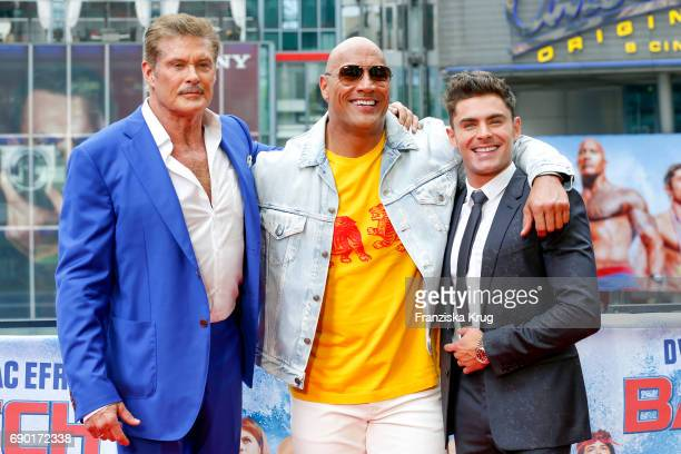 David Hasselhoff Dwayne Johnson and Zac Efron attend the 'Baywatch' Photo Call in Berlin on May 30 2017 in Berlin Germany