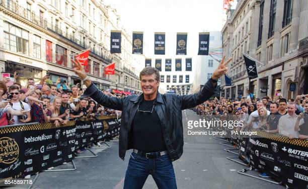 David Hasselhoff on Regent Street in central London during the London leg of the Gumball 3000 rally