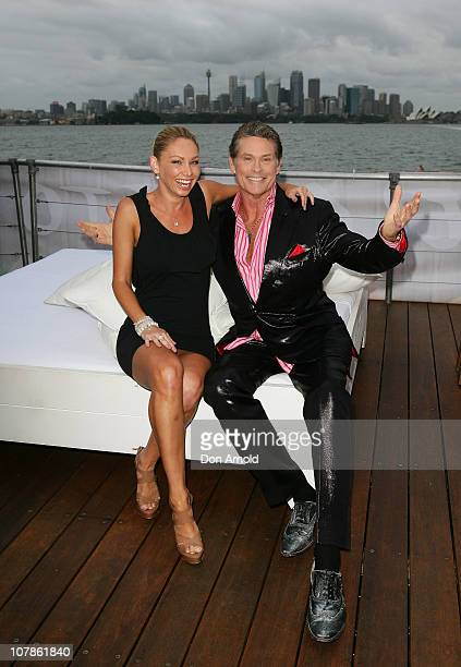 David Hasselhoff poses alongside one time dance partner Kym Johnson on Splice Island a floating barge on Sydney Harbour being used to promote Streets...