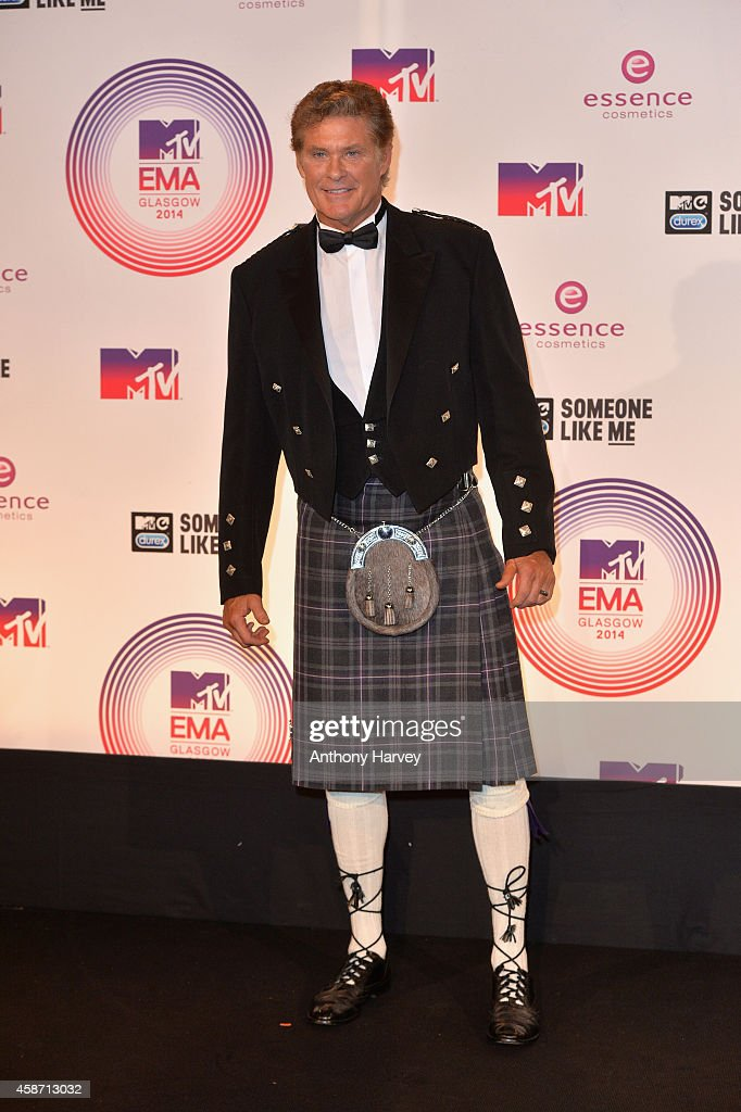 <a gi-track='captionPersonalityLinkClicked' href=/galleries/search?phrase=David+Hasselhoff&family=editorial&specificpeople=209380 ng-click='$event.stopPropagation()'>David Hasselhoff</a> poses in the winners room at the MTV EMA's 2014 at The Hydro on November 9, 2014 in Glasgow, Scotland.