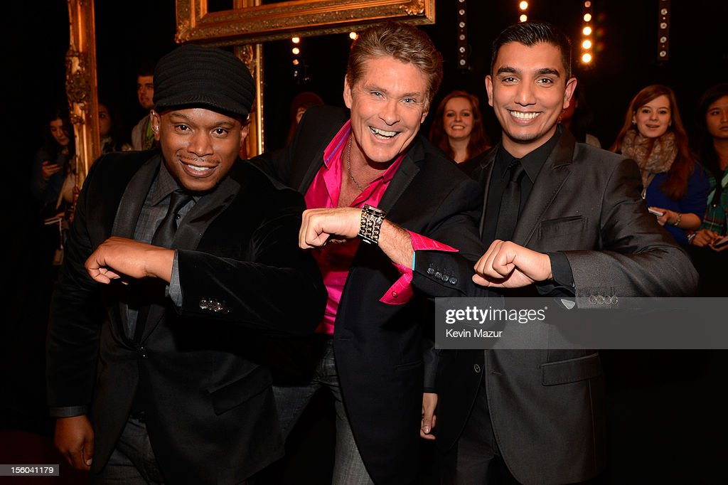 David Hasselhoff (C) poses with presenters Sway and Tim Kash attends the MTV EMA's 2012 at Festhalle Frankfurt on November 11, 2012 in Frankfurt am Main, Germany.