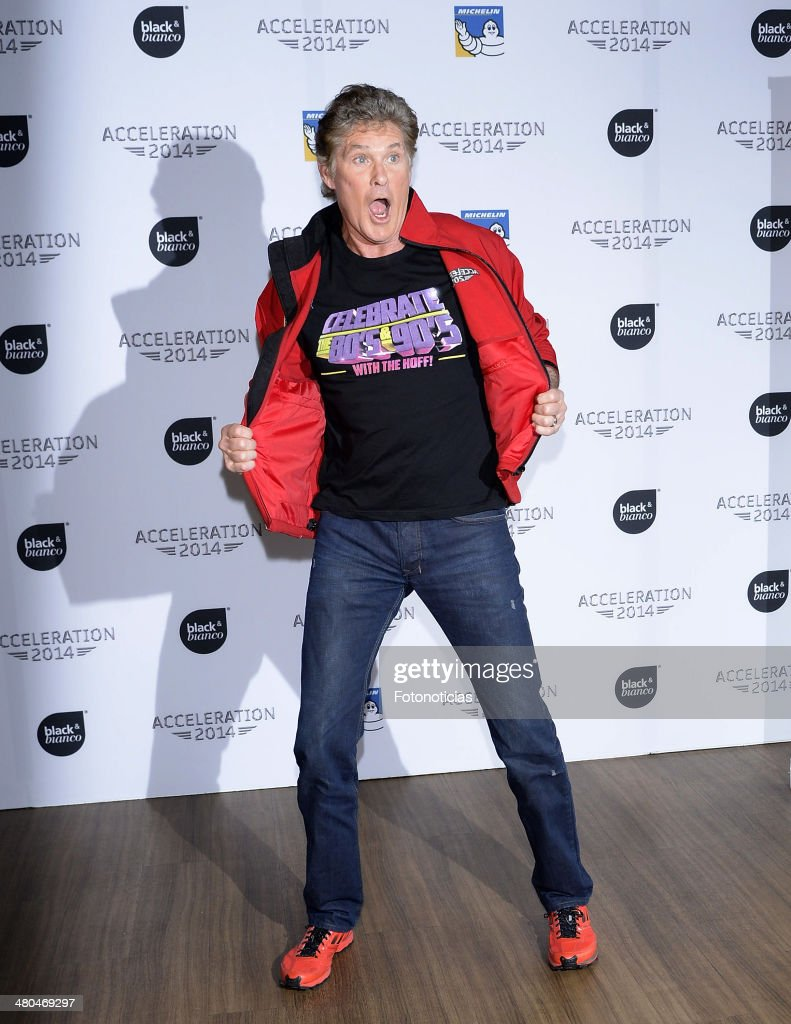 David Hasselhoff presents the Acceleration 2014 Festival at the Room Mate Oscar Hotel on March 25, 2014 in Madrid, Spain.
