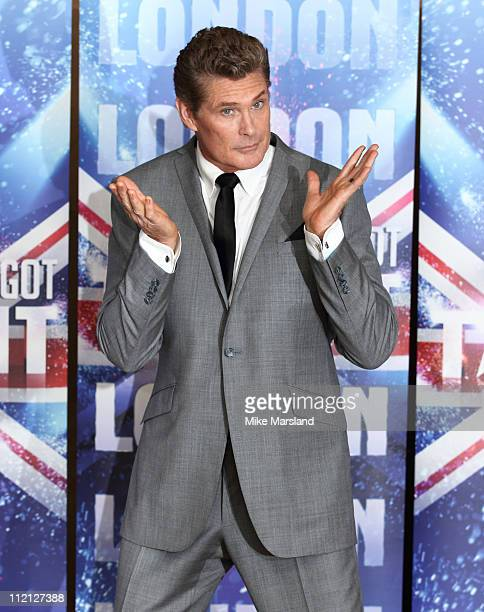 David Hasselhoff promotes the new 'Britain's Got Talent' series for ITV at May Fair Hotel on April 13 2011 in London England