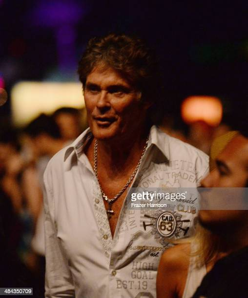 David Hasselhoff seen during day 1 of the 2014 Coachella Valley Music Arts Festival at the Empire Polo Club on April 11 2014 in Indio California