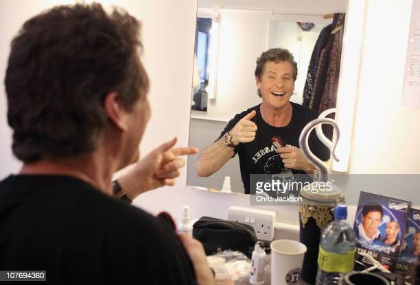 David Hasselhoff smiles in the mirror in his dressing room at the New Theatre on December 20 2010 in Wimbledon England