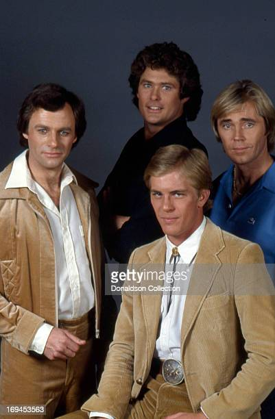 David Hasselhoff Steven Ford Dennis Cole and Tristan Rogers of the soap opera 'The Young And The Restless' pose for a portrait in circa1980 in Las...