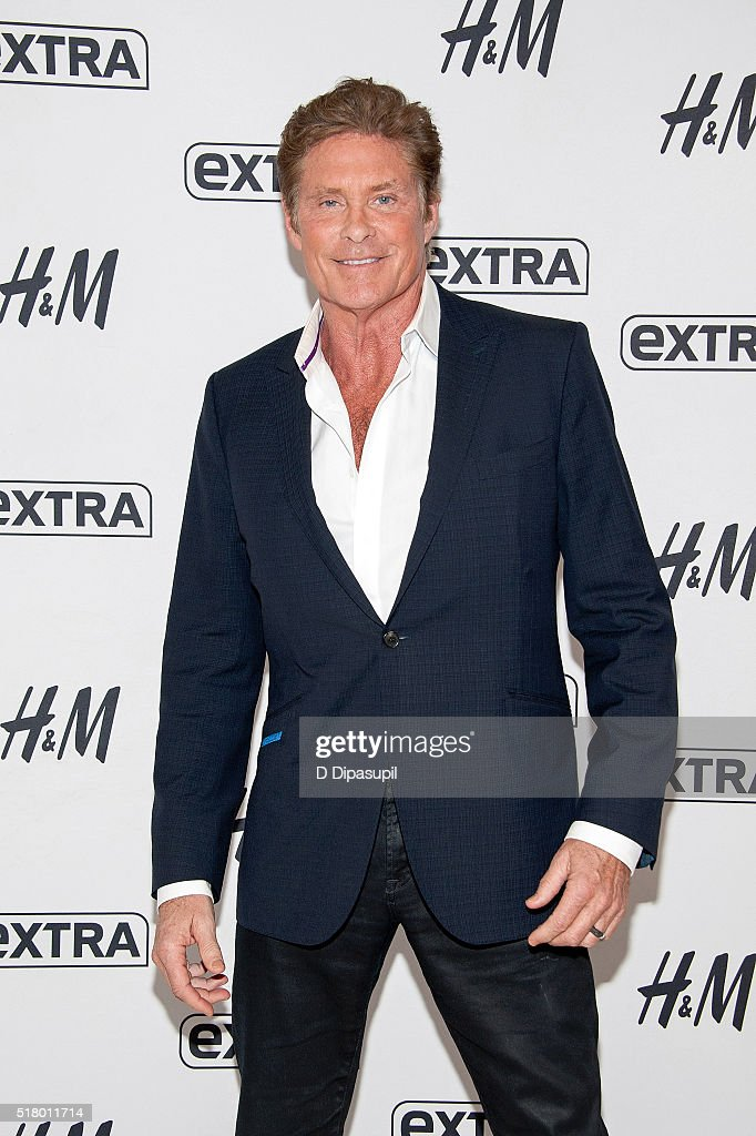 David Hasselhoff visits 'Extra' at their New York studios at H&M in Times Square on March 29, 2016 in New York City.