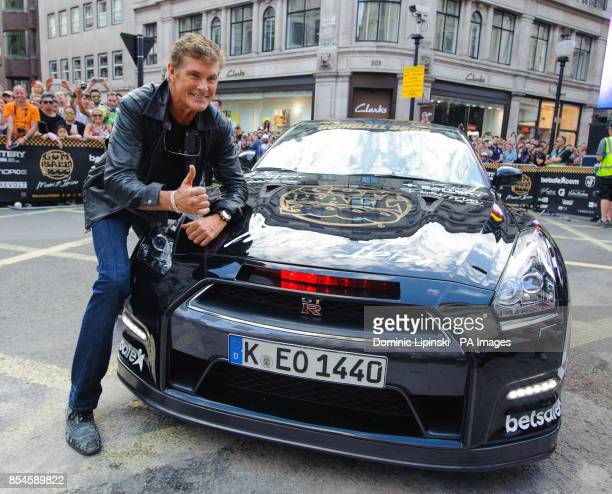 David Hasselhoff with his car on Regent Street in central London during the London leg of the Gumball 3000 rally