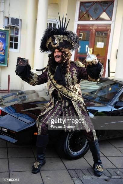 David Hasselhoffb poses alongside KITT car to launch the Peter Pan pantomime at New Wimbledon Theatre on December 9 2010 in Wimbledon England