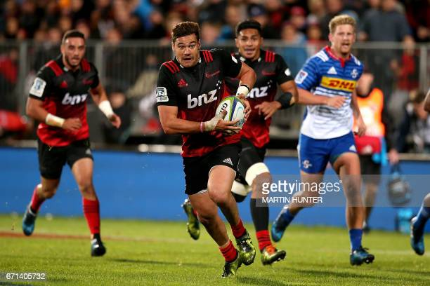 David Havili of the Canterbury Crusaders makes a break during the Super Rugby match between New Zealand's Canterbury Crusaders and South Africa's...