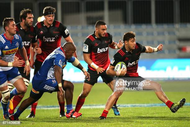 David Havili of the Canterbury Crusaders makes a break with the ball during the Super Rugby match between New Zealand's Canterbury Crusaders and...