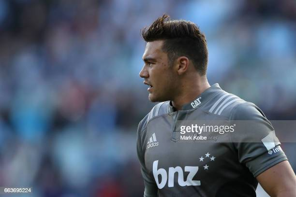 David Havili of the Crusaders watches on during the round six Super Rugby match between the Waratahs and the Crusaders at Allianz Stadium on April 2...