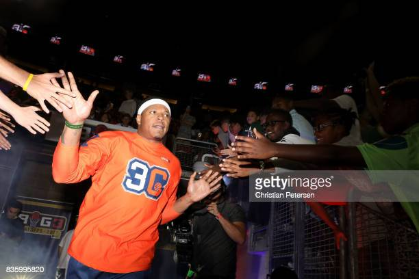 David Hawkins of the 3's Company high fives fans while entering the court for the game against the TriState in week nine of the BIG3 threeonthree...
