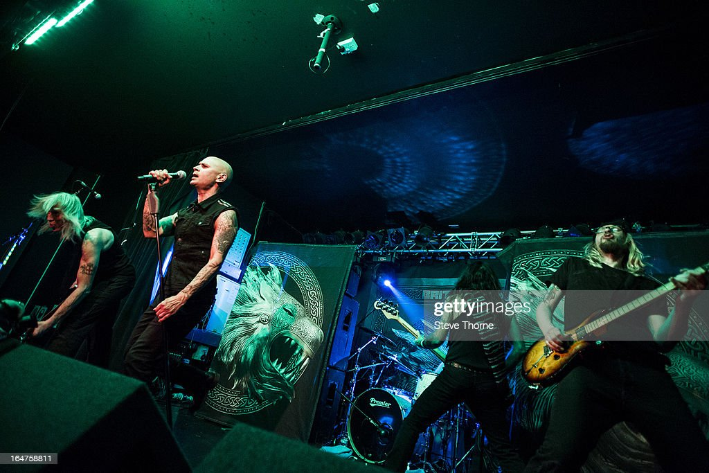 David Hawkins, Richard Taylor, Steve Harris and Grahame Leslie of British Lion perform on stage on March 27, 2013 in Birmingham, England.