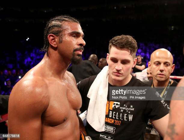 David Haye after losing to Tony Bellew alongside trainer Shane McGuigan at The O2 PRESS ASSOCIATION Photo Picture date Saturday March 4 2017 See PA...