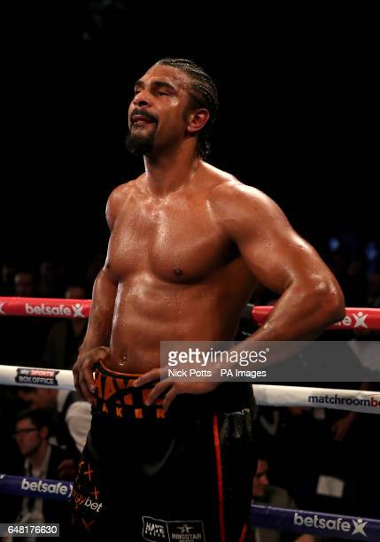 David Haye after losing to Tony Bellew in the heavyweight contest at The O2 PRESS ASSOCIATION Photo Picture date Saturday March 4 2017 See PA story...