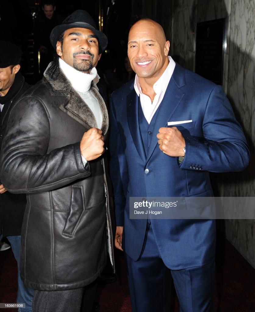 <a gi-track='captionPersonalityLinkClicked' href=/galleries/search?phrase=David+Haye&family=editorial&specificpeople=220778 ng-click='$event.stopPropagation()'>David Haye</a> and <a gi-track='captionPersonalityLinkClicked' href=/galleries/search?phrase=Dwayne+Johnson&family=editorial&specificpeople=210704 ng-click='$event.stopPropagation()'>Dwayne Johnson</a> attend the UK premiere of 'G.I. Joe: Retaliation' at The Empire Leicester Square on March 18, 2013 in London, England.