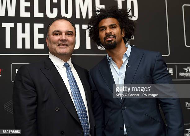 David Haye and promoter Richard Schaefer during a press conference to announce the launch of Haymaker Ringstar at the Park Plaza hotel London