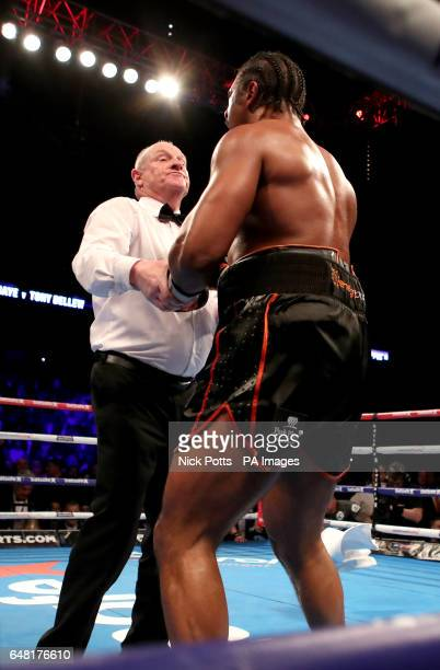 David Haye as the towel is thrown in and he loses to Tony Bellew in the heavyweight contest at The O2 PRESS ASSOCIATION Photo Picture date Saturday...