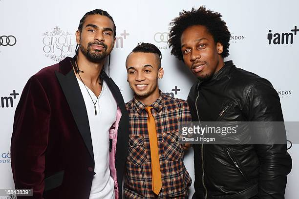 David Haye Aston Merrygold and Lemar attend the IAM fotososho Launch Party in association with Cirque Du Soir at One Marylebone on December 16 2012...