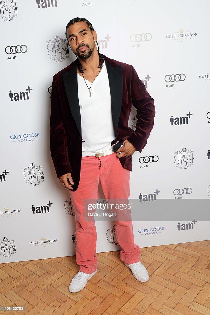 David Haye attends the I.AM+ foto.sosho Launch Party in association with Cirque Du Soir at One Marylebone on December 16, 2012 in London, England.