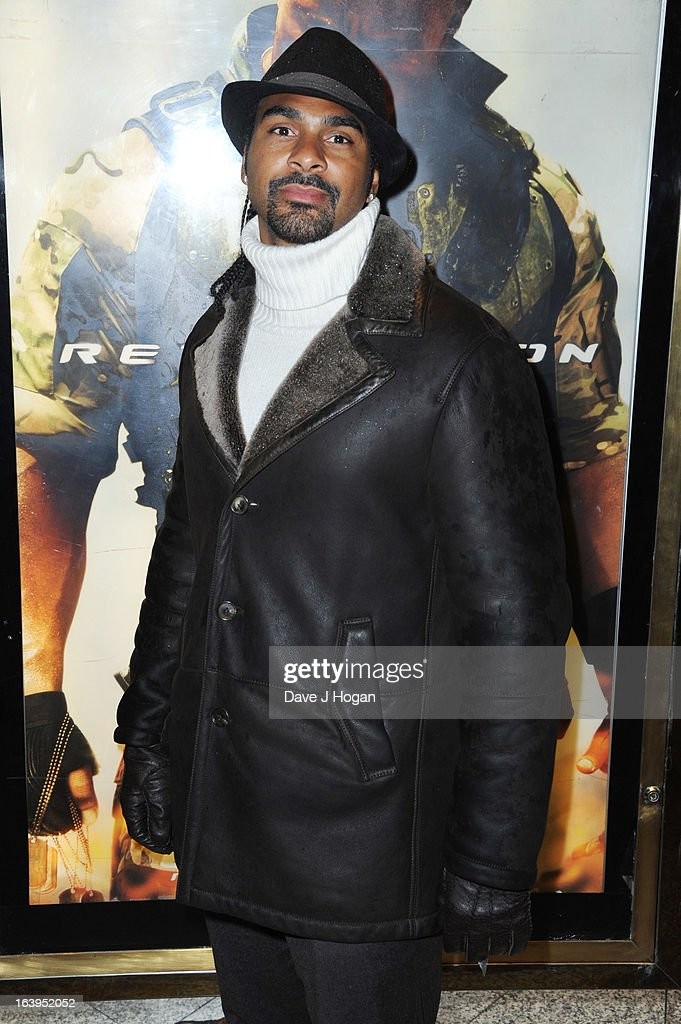 David Haye attends the UK premiere of 'G.I. Joe: Retaliation' at The Empire Leicester Square on March 18, 2013 in London, England.