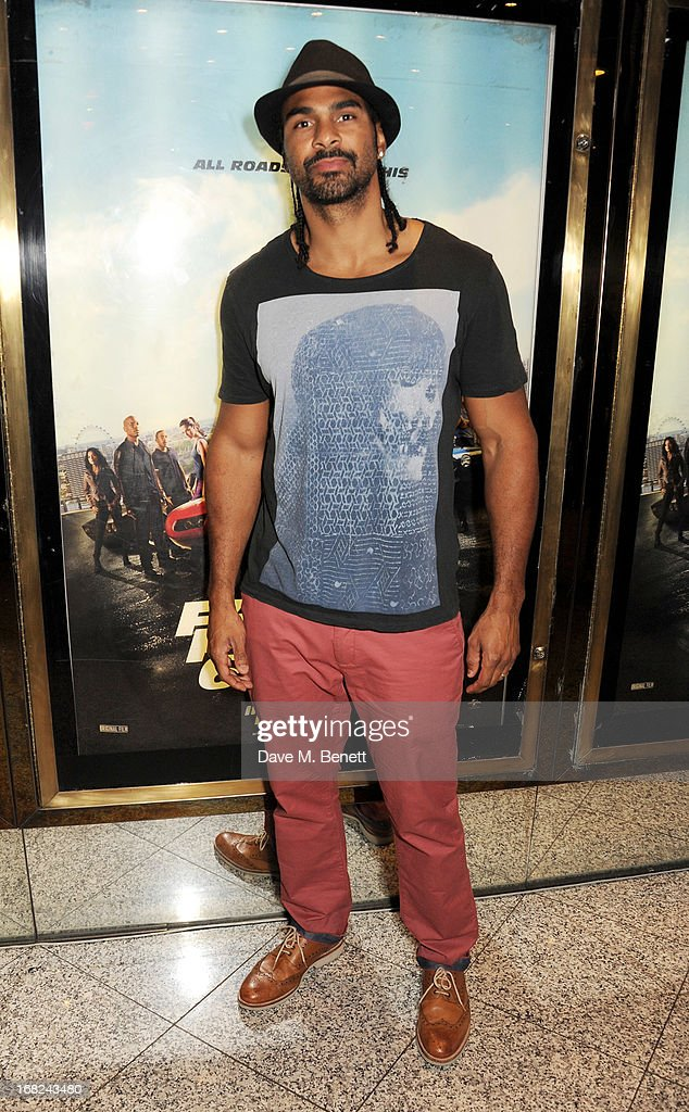 <a gi-track='captionPersonalityLinkClicked' href=/galleries/search?phrase=David+Haye&family=editorial&specificpeople=220778 ng-click='$event.stopPropagation()'>David Haye</a> attends the World Premiere of 'Fast & Furious 6' at Empire Leicester Square on May 7, 2013 in London, England.