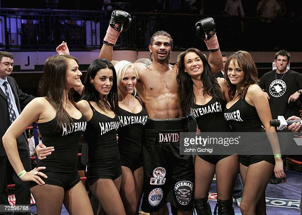 David Haye celebrates the win against Giacobbe Fragomeni during the European Cruiserweight title fight on November 17 2006 at York Hall in London...
