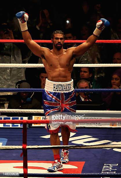David Haye celebrates winning the Heavyweight Fight against Dereck Chisora at Boleyn Ground on July 14 2012 in London England