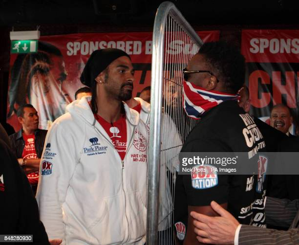 David Haye faces Dereck Chisora during the Head to Head at the Gilgamesh Restaurant Bar and Lounge London