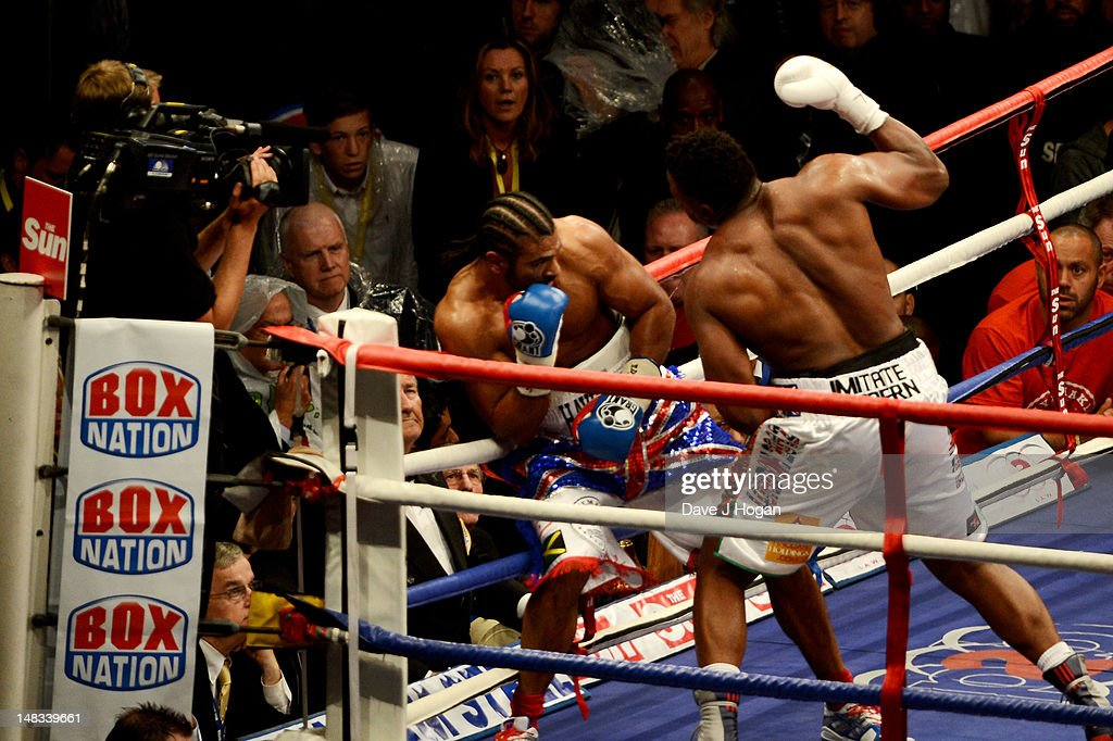 David Haye fights Dereck Chisora during their heavyweight fight at The Boleyn Ground on July 14, 2012 in London, England.