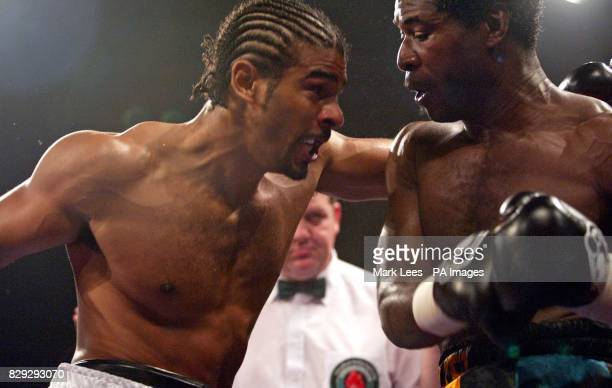 David Haye in action against Carl Thompson at Wembley Arena for the IBO Cruiserweight Championship of the World