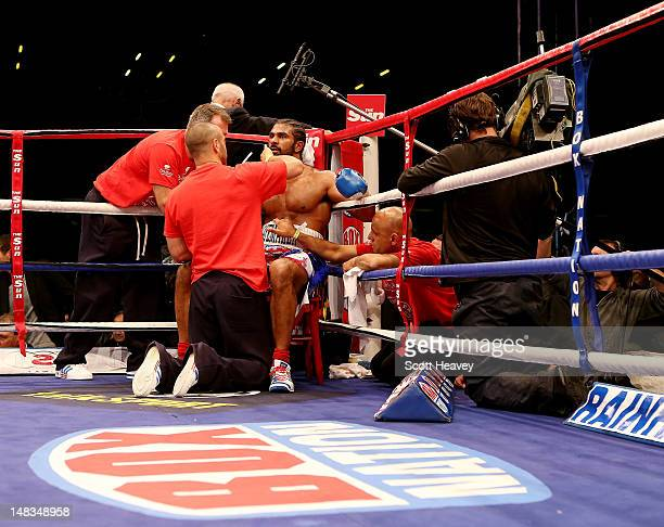 David Haye in his corner during his vacant WBO and WBA International Heavyweight Championship bout with Dereck Chisora on July 14 2012 in London...