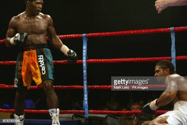 David Haye is knocked down by Carl Thompson at Wembley Arena during the fight for the IBO Cruiserweight Championship of the World Haye who had never...