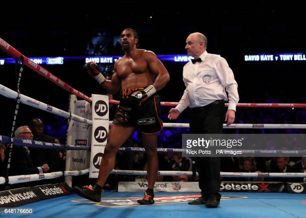 David Haye is watched by referee Phil Edwards during the heavyweight contest at The O2 PRESS ASSOCIATION Photo Picture date Saturday March 4 2017 See...