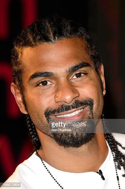 David Haye meets fans and signs copies of his new DVD at HMV Oxford Street on January 7 2013 in London England