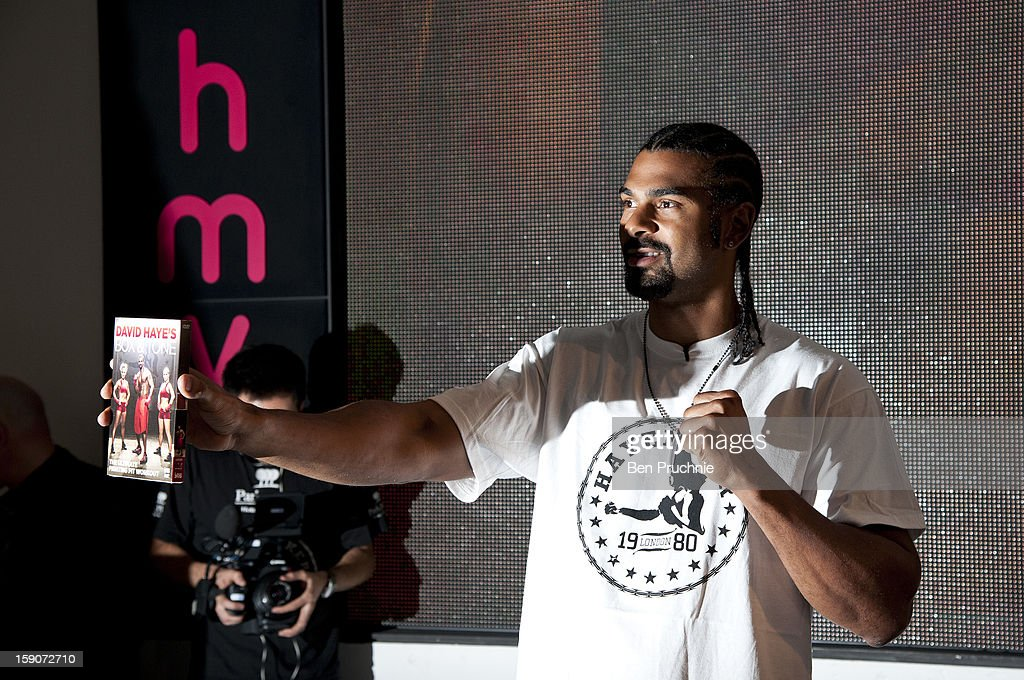 David Haye meets fans and signs copies of his new DVD at HMV, Oxford Street on January 7, 2013 in London, England.