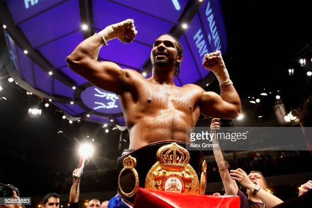 David Haye of England celebrates after defeating Nikolai Valuev of Russia in their WBA World Heavyweight Championship fight at the Arena Nuernberger...