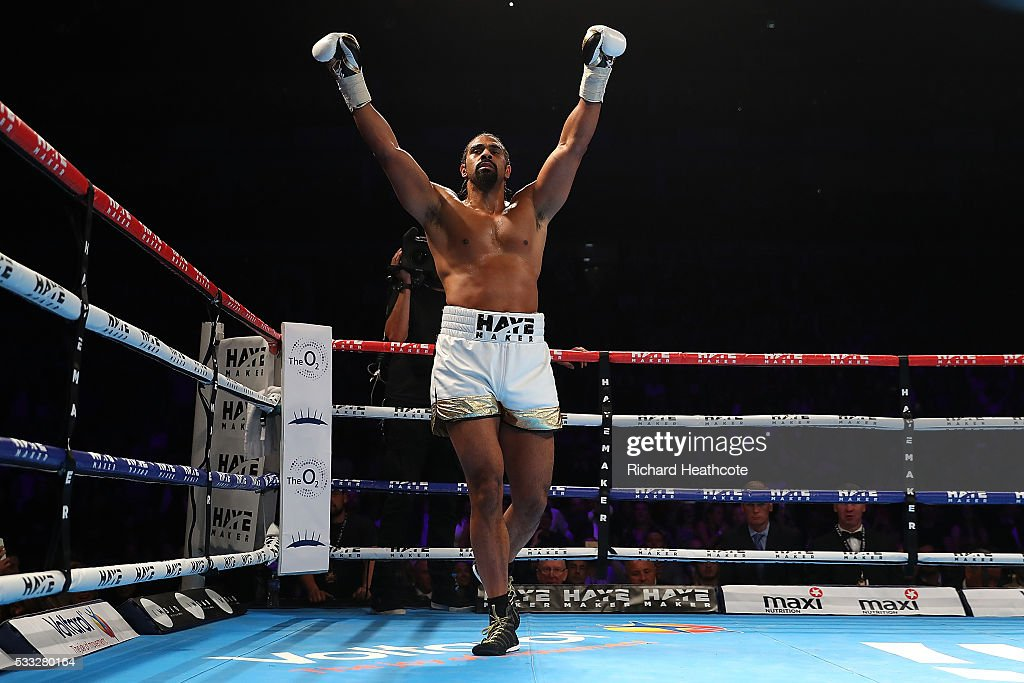 David Haye of England celebrates victory against Arnold Gjergjaj of Switzerland during their Heavyweight fight at The O2 Arena on May 21, 2016 in London, England.