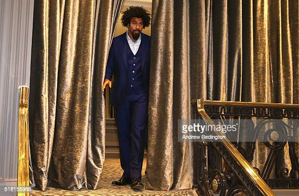 David Haye of England enters the room during a David Haye press conference at Grosvenor House on March 30 2016 in London England