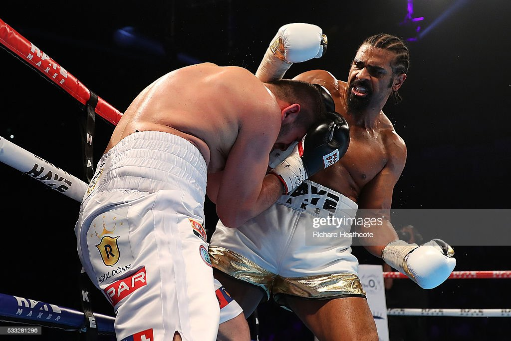 David Haye of England in action against Arnold Gjergjaj of Switzerland during their Heavyweight fight at The O2 Arena on May 21, 2016 in London, England.
