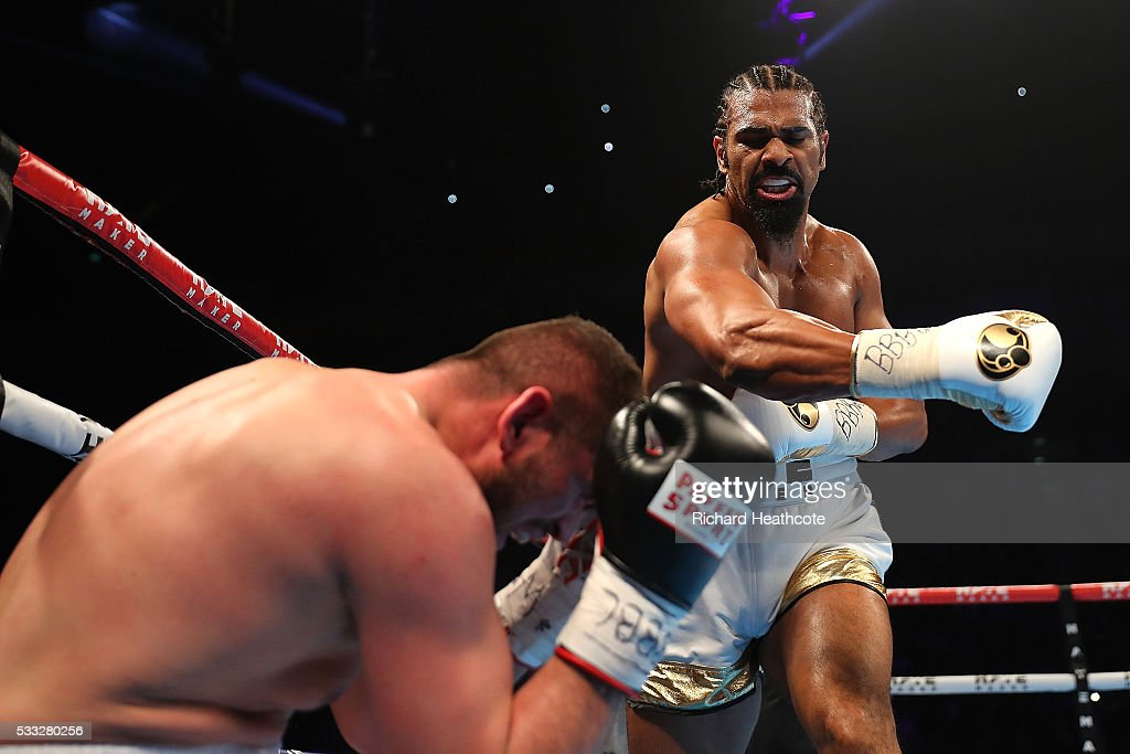David Haye of England knocks down Arnold Gjergjaj of Switzerland during their Heavyweight fight at The O2 Arena on May 21, 2016 in London, England.
