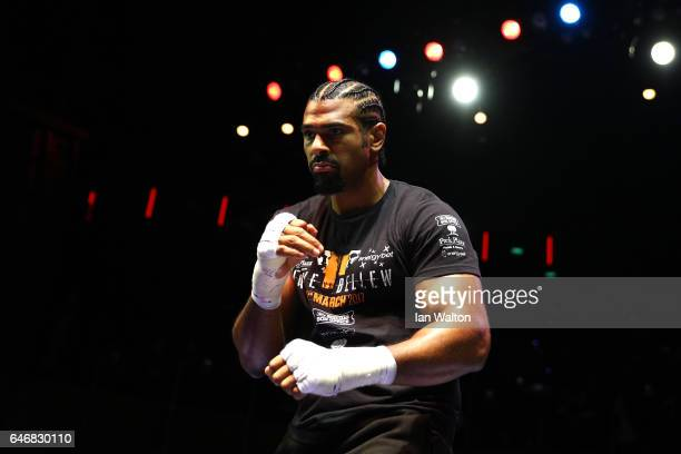 David Haye of England looks on as he attends the Media Work Out at The O2 Arena on March 1 2017 in London England