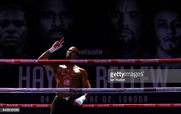 David Haye of England warms up as he attends the Media Work Out at The O2 Arena on March 1 2017 in London England