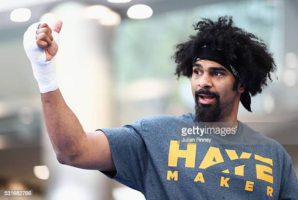 David Haye of Great Britain gives the thumbs up at his media work out ahead of his fight against Arnold Gjergjaj at Jubilee Place Canary Wharf on May...