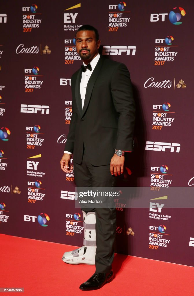 David Haye poses on the red carpet during the BT Sport Industry Awards 2017 at Battersea Evolution on April 27, 2017 in London, England. The BT Sport Industry Awards is the most prestigious commercial sports awards ceremony in Europe, where over 1,750 of the industry's key decision-makers mix with high profile sporting celebrities for the industry's most anticipated night of the sport business calendar.