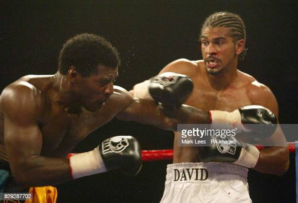 David Haye right in action against Carl Thompson at Wembley Arena Thompson retained his IBO Cruiserweight title stopping challenger Haye in the fifth...