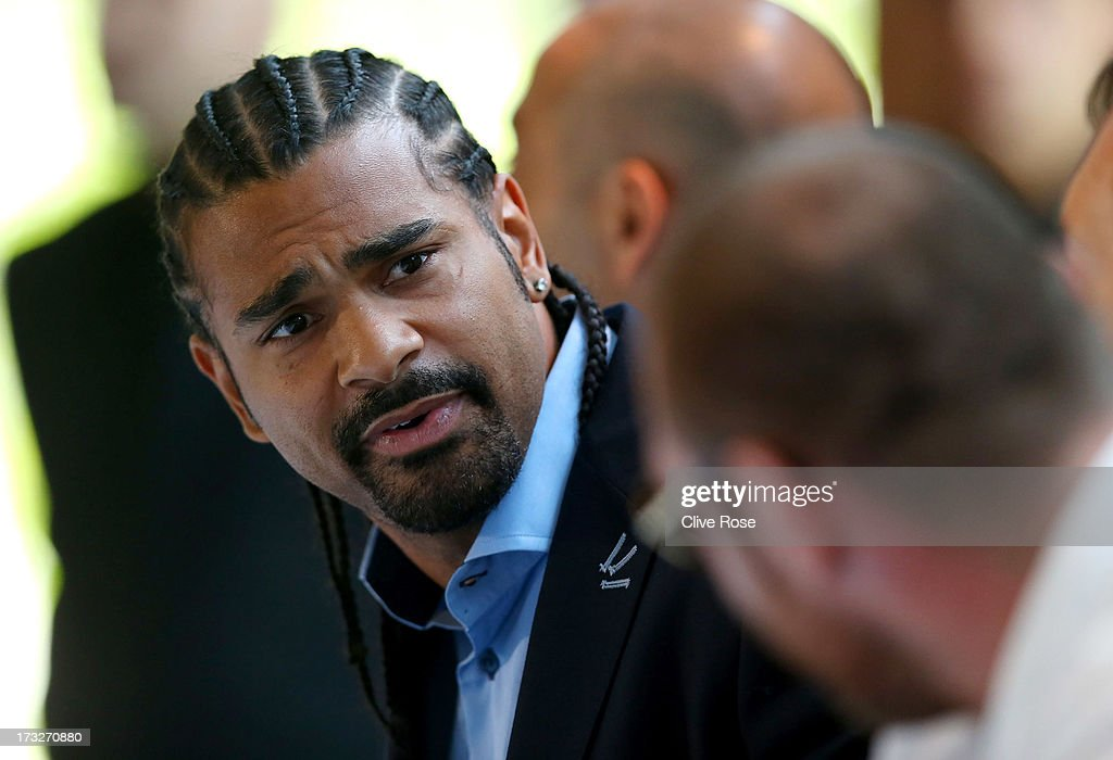 David Haye speaks during a press conference to announce his upcoming title fight against Tyson Fury on July 11, 2013 in London, England.
